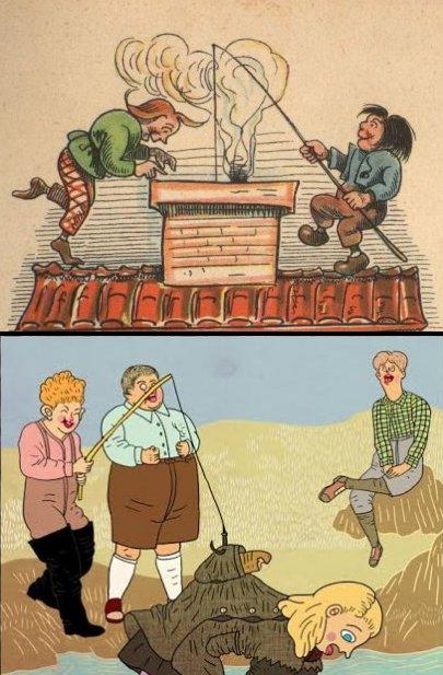 למעלה, וילהלם בוש, מקס ומוריץ 1865(פרט). למטה, בתיה קולטון, גלגוליו של מעיל (פרט)