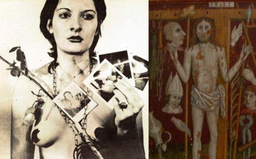 מימין arma christi (פרט), משמאל מרינה אברמוביץ Rhythm 0, 1974 (פרט)