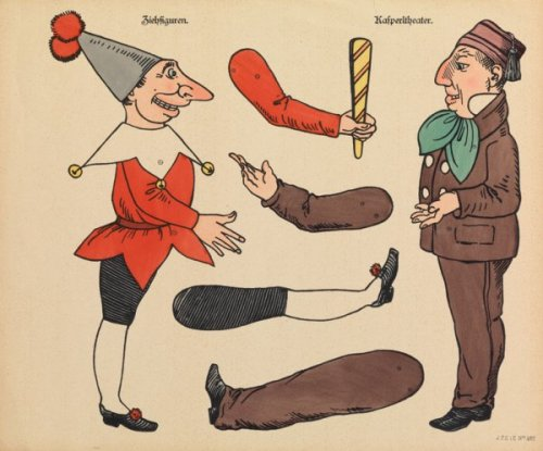 דמויות תאטרון בובות לגזירה, גרמניה, המאה ה20, נייר מודפס וצבוע ביד, מוזיאון ישראל