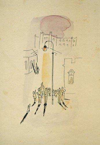נחום גוטמן, פנס רחוב ראשון, 1959. גוטמן הוא היפוכו של אלתרמן, הוא דוד הרבה יותר חביב, והפנס שלו לפיכך רחוק ממגלב על אף הצללים השחורים שהוא מפיל גם מפיל.